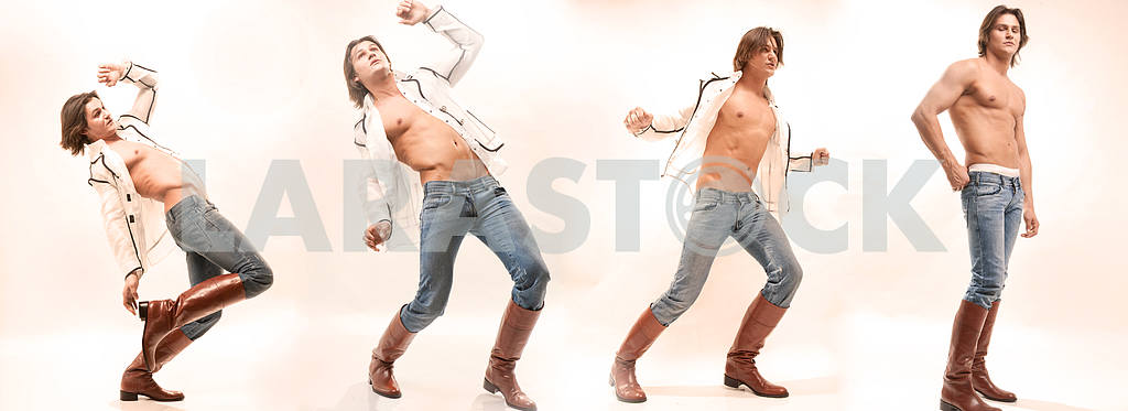 Man in shirt, jeans and boots. Denuded torso
