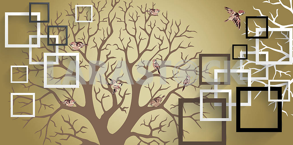 3d illustration, yellow brown background, white, black and brown frames, silhouettes of dry trees, birds sit on the branches and fly