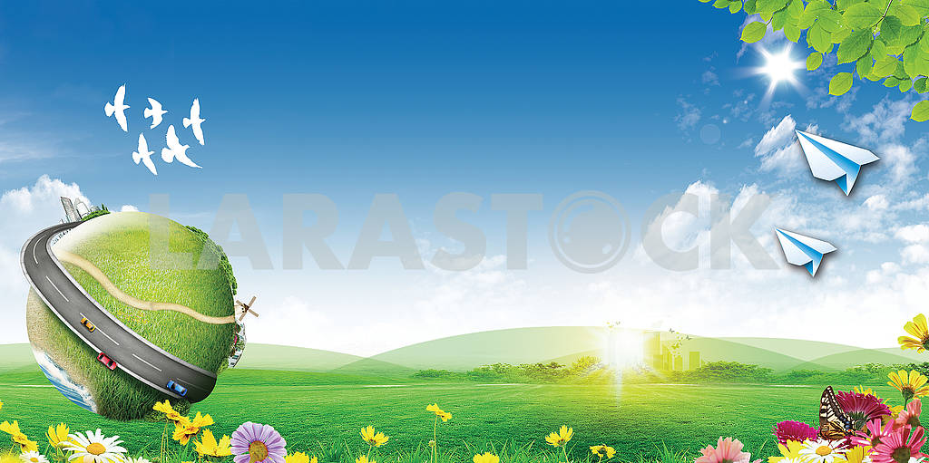 Landscape illustration, sunrise on the meadow, paper airplanes, birds, flowers, a globe with a road and cars