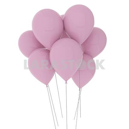 Розовые шары на изолированных белый в 3D иллюстрации