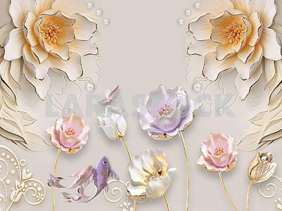 3д иллюстрация, бежевый фон, тиснение, жемчуг, крупные бежевые, белые и розовые цветы