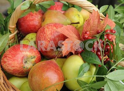 Корзина с яблоками и букет