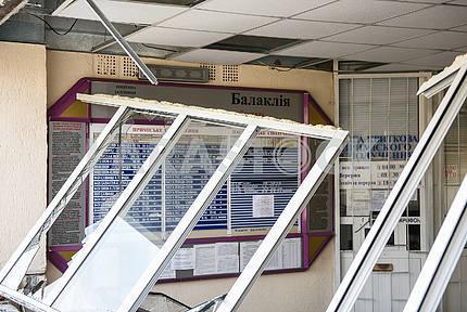 Разбитые окна на вокзале в Балаклее