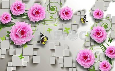 3д иллюстрация, серый фон, плитка, розовые цветы, бабочки