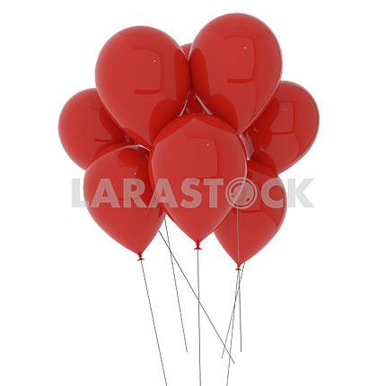 Красные шары на изолированных белый в 3D иллюстрации