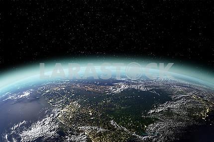 Вид планеты Земля из космоса в 3D-рендеринге. Элементы этого изображения, представленные NASA