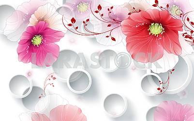 3д иллюстрация, белый фон, белые кольца, большие красные и розовые цветы