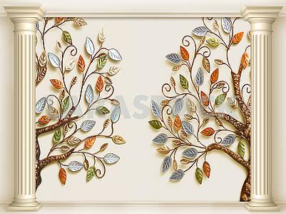 3д иллюстрация, бежевый фон, две колонны, два сказочных дерева с разноцветными листьями