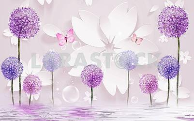 3д иллюстрация, светлый фон, белые бумажные цветы, розовые бабочки, разноцветные одуванчики, отражение в воде