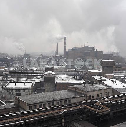 Индустриальный пейзаж металлургического промышленного комплекса