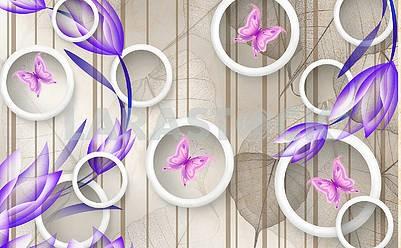 3д иллюстрация, вертикальные коричневые линии, большие полупрозрачные листья, белые кольца, розовые бабочки, синие тюльпаны