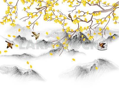 Пейзажная иллюстрация, холмы, лес в тумане, ветка с желтыми листьями, коричневые птицы, одна птица в клетке