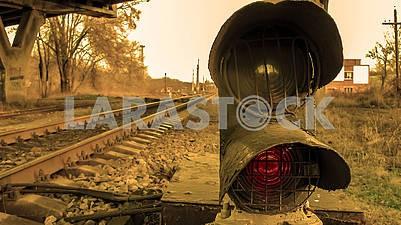 Железнодорожный светофор крупным планом