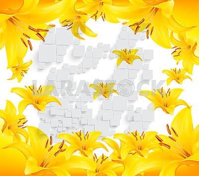 Яркий фон, большие желтые лилии, серые трехмерные квадраты