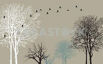 Темно-серый фон, черные, белые и синие контуры деревьев, черные вороны, улетающие от дерева