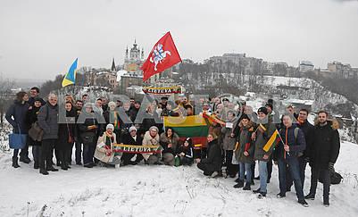 Акция на Замковой горе по случаю 100-летия Литовской Республики