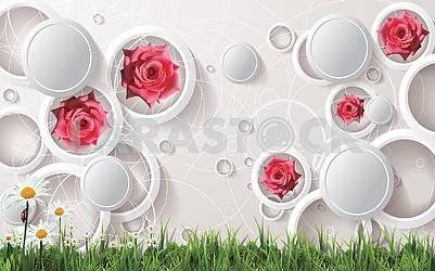 3д иллюстрация, светлый фон, белые кольца, трава с ромашками, крупные розовые розы