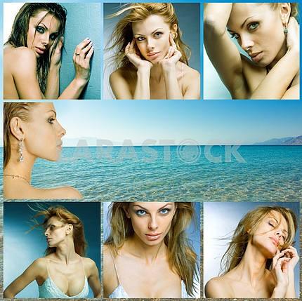 Красивая женщина на фоне пляжа