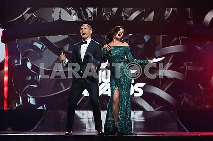Никита Добрынин и Оля Цыбульская на церемонии награждения M1 Awards 2016