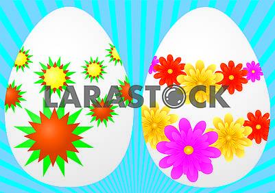 Два белых яйца, украшенные для празднования Пасхи