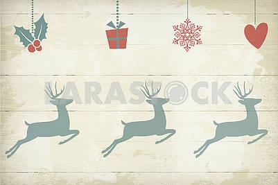 Праздничный фон, новый год, рождество, деревянные доски, олень, сердце, подарок, снежинка