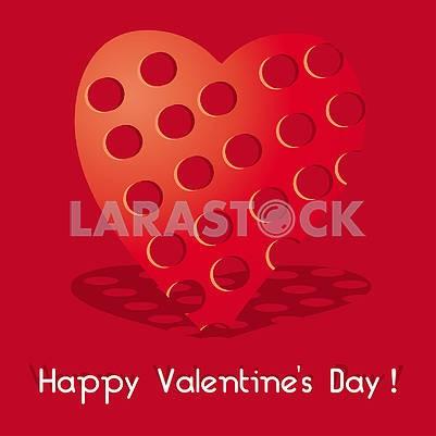 Валентинка с красным сердцем с дырочками на красном фоне