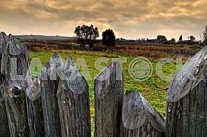 Забор и осеннее поле