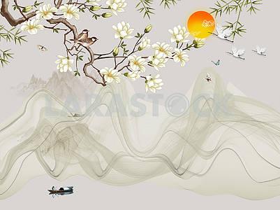 Пейзажная иллюстрация, озеро, рыбак на лодке, закат, холмы, цветущая ветка дерева, серые волны, птицы и бабочки