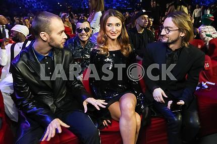 Макс Барских, Татьяна Решетняк и Алан Бадоев на церемонии награждения M1 Awards 2016