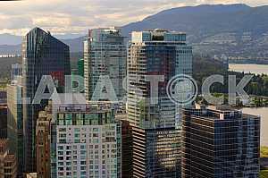 Вид с высоты птичьего полета на город Ванкувер, Канада