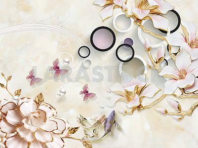 3д иллюстрация, бежевый мраморный фон, белые и черные кольца, розовые позолоченные цветы на золотых ветках, жемчуг, розовые бабочки
