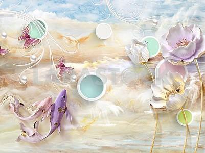 3д иллюстрация, мраморный фон, цветные круги в белых кольцах, розовая и фиолетовая рыба, позолоченные цветы, белый жемчуг, розовые бабочки