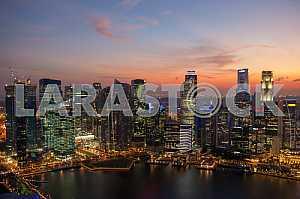 Небоскребы Сингапура на закате