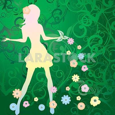 Весенний фон с силуэтом стройной девушки и цветочным вихрем на зеленом фоне
