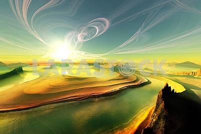 Река в пустыне, извилистые облака, яркое солнце