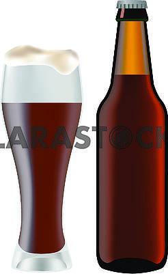 Бутылка с пивом и бокал