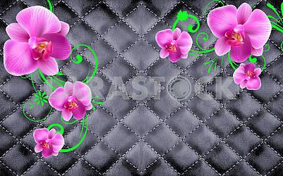 Черный фон, шитье из кожи, крупные розовые цветы