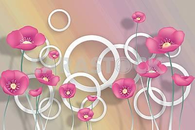 3д иллюстрация, пастельный фон, белые кольца, розовые маки