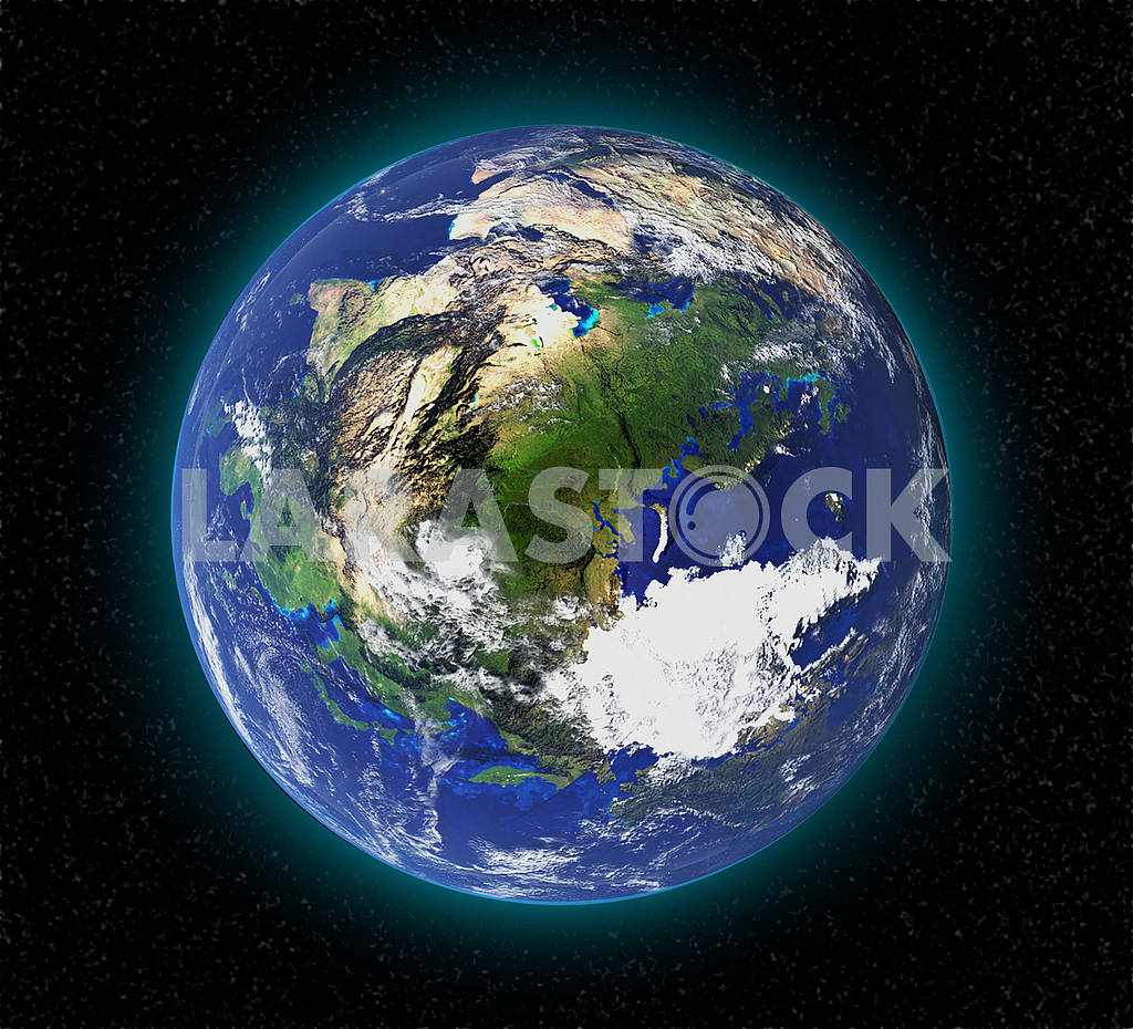 High resolution planet earth from space in 3D. Elements of this image furnished by NASA — Image 53600