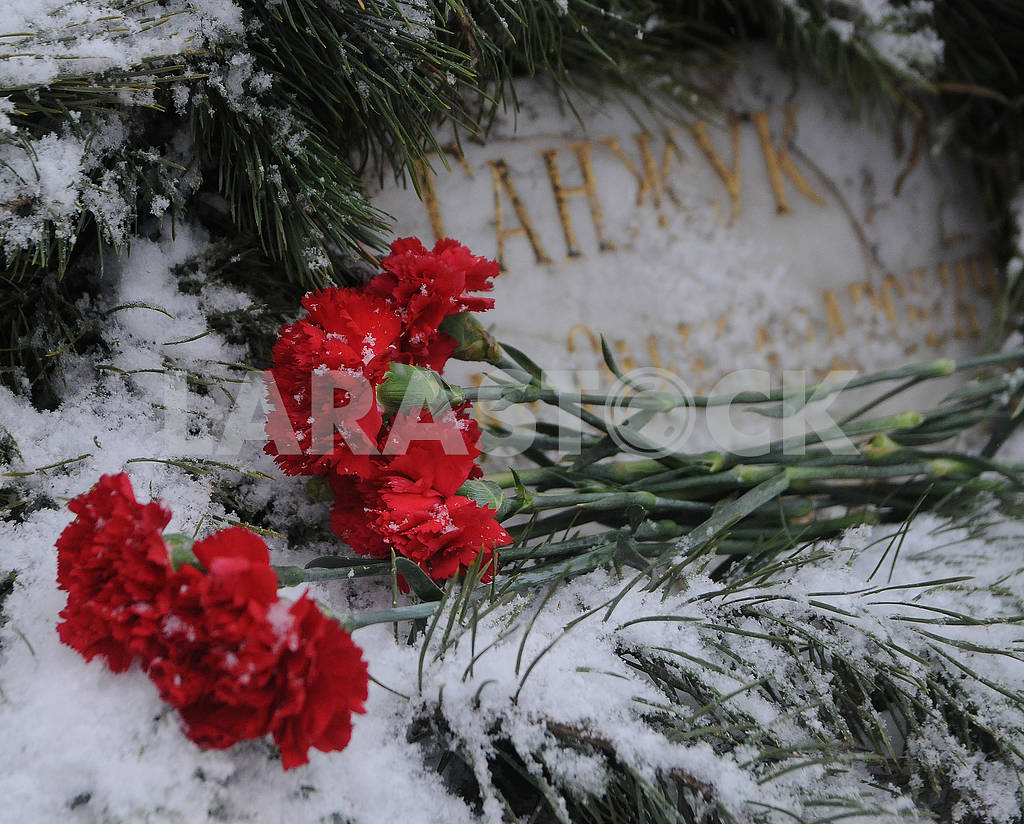 """Flowers at the memorial sign """"To the Soldiers of Chernobyl"""" — Image 77490"""