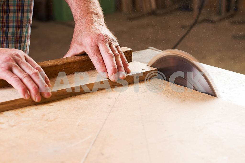 Carpenter tools on wooden table with sawdust. Circular Saw. Carpenter workplace top view — Image 45661