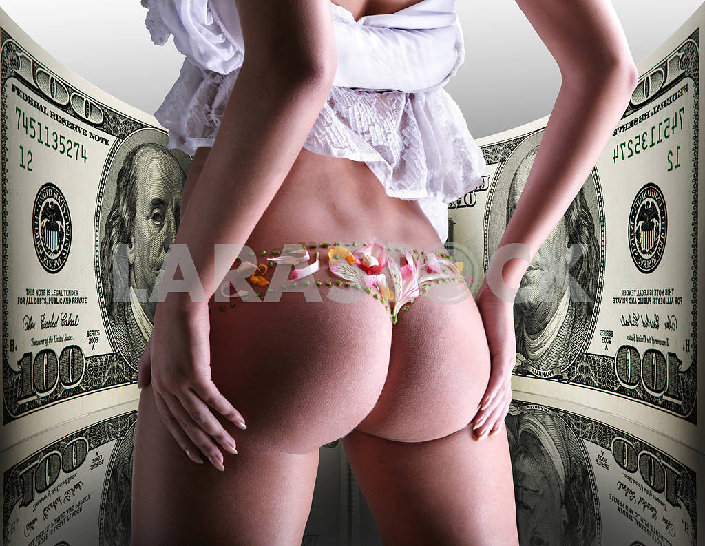 Buttocks decorated with flowers under money, 100 american dollar — Image 9071
