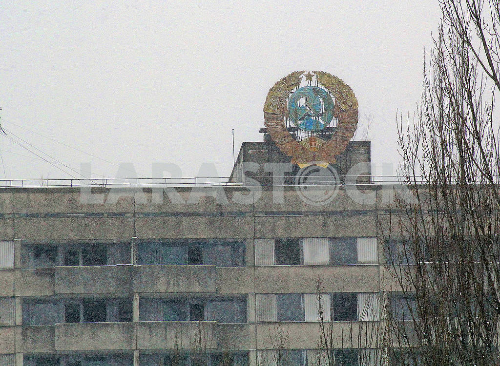 Coat of arms of the Soviet Union in Pripyat — Image 50042