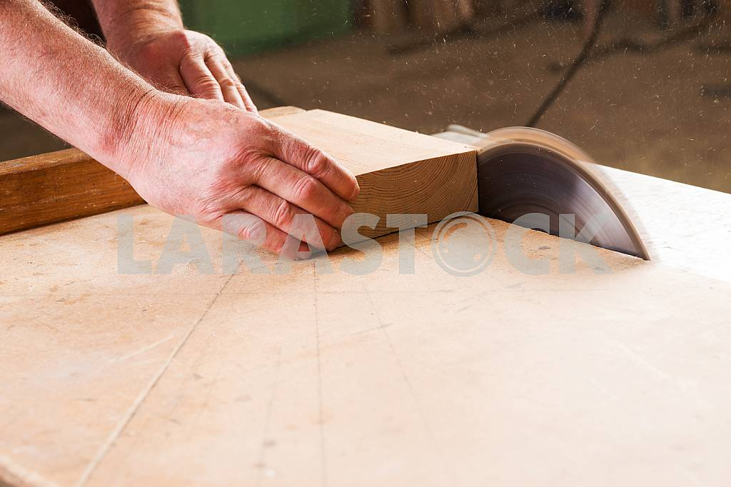 Carpenter tools on wooden table with sawdust. Circular Saw. Carpenter workplace top view — Image 45662