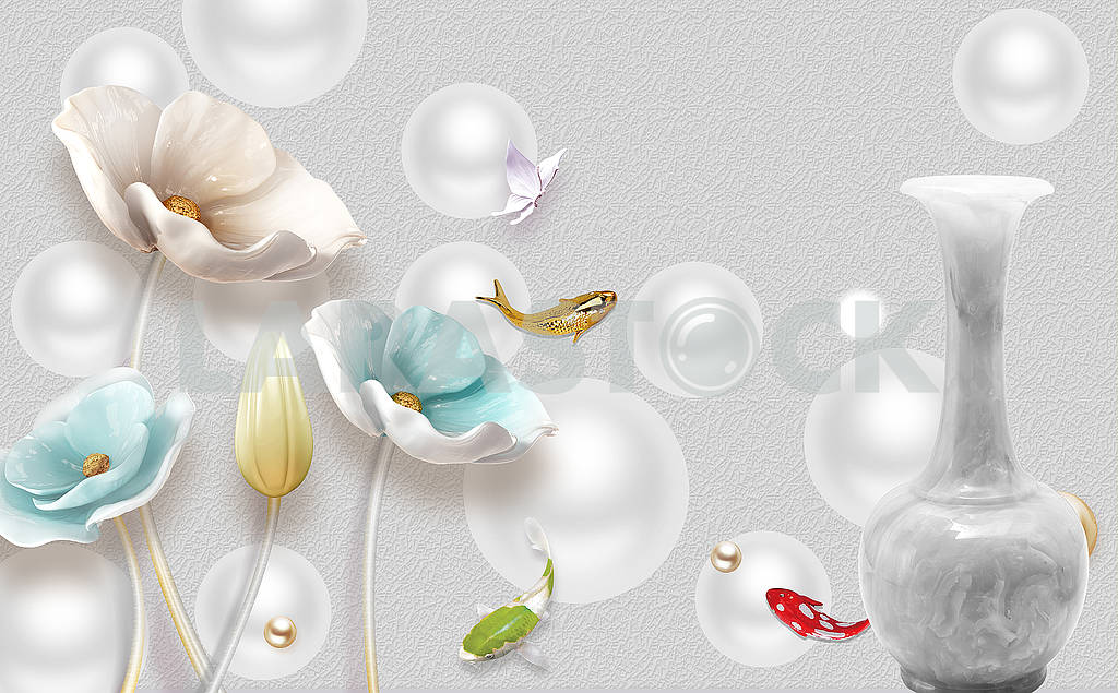 3d illustration, gray background, gray balls, gray marble vase, multi-colored poppies and fish — Image 82362