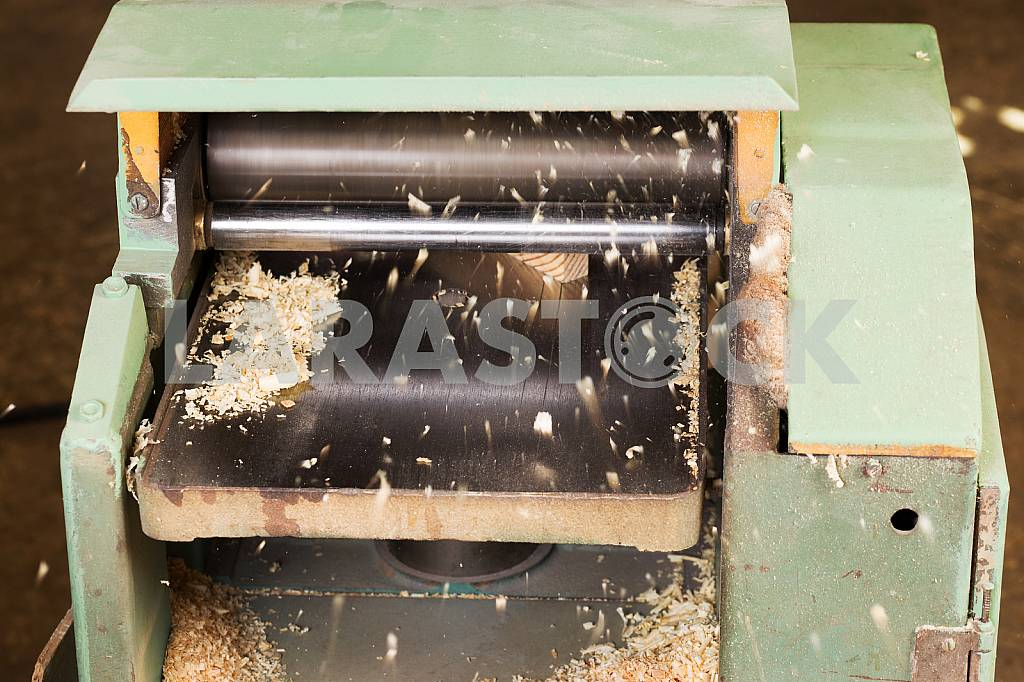 Carpenter tools on wooden table with sawdust. Circular Saw. Carpenter workplace top view — Image 45682