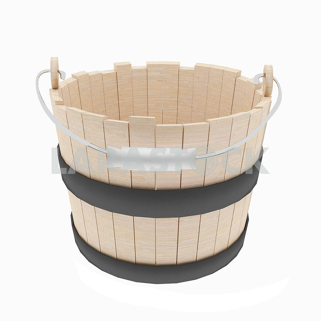 Wood bucket object on isolated white in 3D illustration — Image 53513