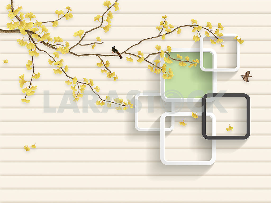 3d illustration, beige background, horizontal stripes, a tree branch with yellow leaves, two birds, white and dark gray frames with rounded corners — Image 82163