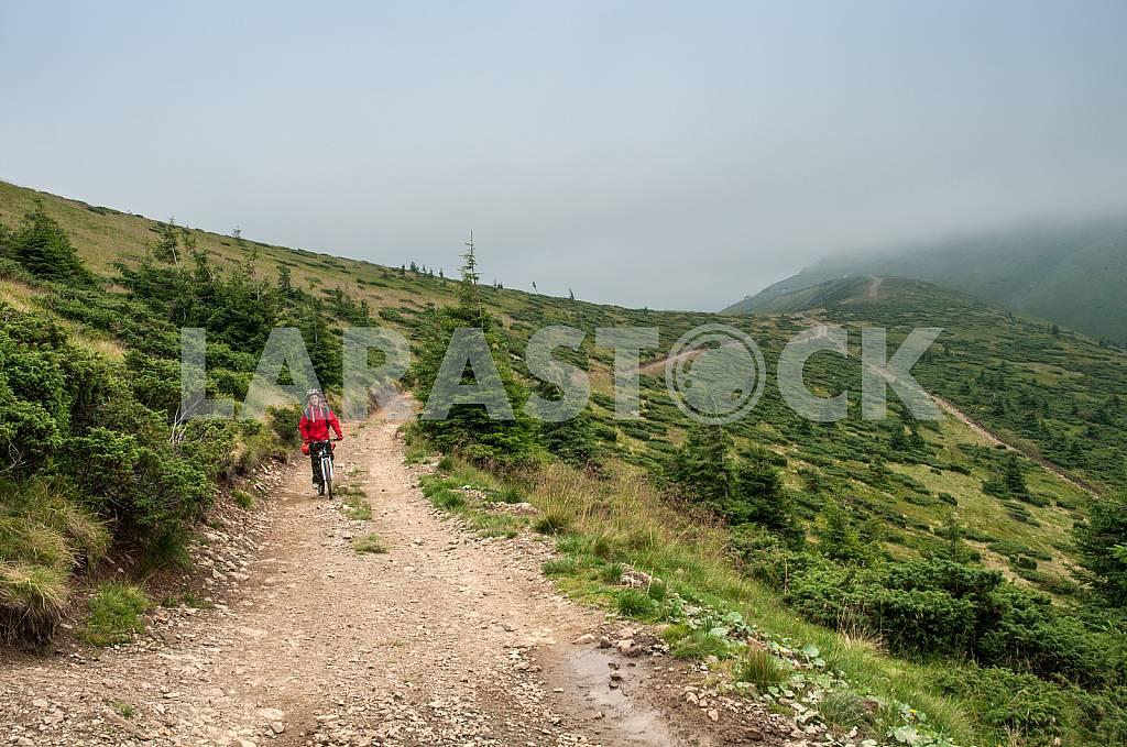 Человек с рюкзаком, едет на велосипеде по горной дороге в Карпатах — Изображение 26573