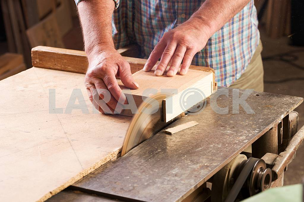 Carpenter tools on wooden table with sawdust. Circular Saw. Carpenter workplace top view — Image 45673